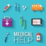 Os ícones lisos da medicina ajustaram o conceito Vetor Fotografia de Stock