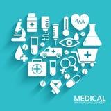 Os ícones lisos da medicina ajustaram o conceito Vetor Foto de Stock Royalty Free