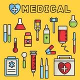 Os ícones lisos da medicina ajustaram o conceito Vetor Fotos de Stock Royalty Free