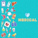 Os ícones lisos da medicina ajustaram o conceito Vetor Fotos de Stock