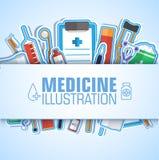 Os ícones lisos da medicina ajustaram o conceito Vetor Imagem de Stock