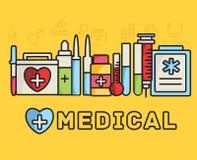 Os ícones lisos da medicina ajustaram o conceito Vetor Imagens de Stock