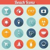 Os ícones lisos da praia do projeto ajustam-se - vector eps10 Foto de Stock Royalty Free