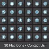 Os ícones lisos da Web ajustados - contacte-nos ilustração do vetor