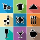 Os ícones lisos do alimento ajustaram a ilustração Fotografia de Stock