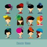 Os ícones lisos do app do avatar do projeto ajustaram mulheres dos povos da cara do usuário Projeto da ilustração do vetor Fotografia de Stock Royalty Free
