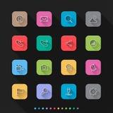 Os ícones lisos do estilo da conexão social ajustam-se - Vector a ilustração para a Web & o móbil ilustração stock
