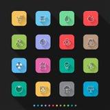 Os ícones lisos do estilo da energia de Eco ajustam-se - Vector a ilustração para a Web & o móbil ilustração royalty free