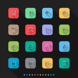 Os ícones lisos do estilo do negócio & do escritório ajustam-se - Vector a ilustração para a Web & o móbil ilustração royalty free