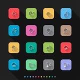 Os ícones lisos do estilo do tempo ajustam-se - Vector a ilustração para a Web & o móbil ilustração stock