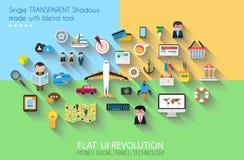 Os ícones lisos do estilo UI a usar-se para seu negócio projetam-se Fotos de Stock Royalty Free
