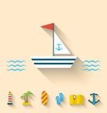 Os ícones lisos do grupo de feriados do cruzeiro e a viagem vacation Imagem de Stock Royalty Free