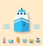 Os ícones lisos do grupo de feriados do cruzeiro e a viagem vacation Fotos de Stock Royalty Free