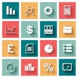 Os ícones lisos do negócio ajustaram-se para a Web e o móbil Foto de Stock Royalty Free