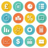 Os ícones lisos do negócio ajustaram-se para a Web e o móbil Imagens de Stock Royalty Free