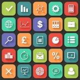 Os ícones lisos do negócio ajustaram-se para a Web e o móbil. Vetor Fotos de Stock Royalty Free