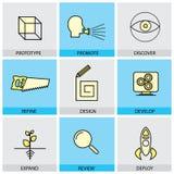 Os ícones lisos do projeto ajustados da linha protótipo do vetor promovem a ideia ilustração royalty free
