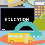 Os ícones lisos do projeto ajustaram objetos da escola do conceito da educação com ensino e aprendizagem de símbolos Imagens de Stock Royalty Free