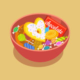 Os ícones lisos dos doces doces ajustados na forma do círculo com os pirulitos coloridos dos chocolates sortidos isolaram a ilust ilustração do vetor