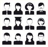 Os ícones lisos dos povos ajustaram-se preto e branco Fotografia de Stock