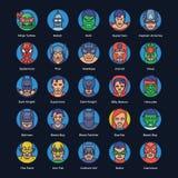 Os ícones lisos dos super-herói e dos bandidos embalam ilustração royalty free