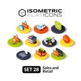 Os ícones lisos isométricos ajustaram 28 Fotos de Stock