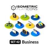 Os ícones lisos isométricos ajustaram 42 Imagens de Stock