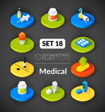Os ícones lisos isométricos ajustaram 18 Fotografia de Stock Royalty Free