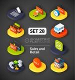 Os ícones lisos isométricos ajustaram 28 Imagens de Stock Royalty Free