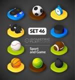 Os ícones lisos isométricos ajustaram 46 Imagem de Stock