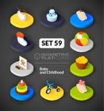 Os ícones lisos isométricos ajustaram 59 Foto de Stock Royalty Free