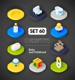 Os ícones lisos isométricos ajustaram 60 Imagens de Stock