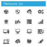 Os ícones lisos modernos ajustaram-se da tecnologia nuvem-baseada dos serviços de dados, conectividade global Foto de Stock
