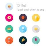 Os ícones lisos modernos vector a coleção com efeito de sombra longo Imagens de Stock