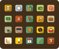 Os ícones lisos modernos vector a coleção com efeito de sombra longo Fotografia de Stock Royalty Free