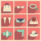 Os ícones lisos modernos vector a coleção com forma da sombra Imagem de Stock Royalty Free