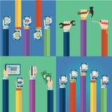 Os ícones lisos modernos vector a coleção das ferramentas, do telefone celular, da tabuleta digital e dos outros dispositivos usa ilustração do vetor