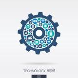 Os ícones lisos na roda denteada dão forma, tecnologia, nuvem que computa, conceito digital do mecanismo ilustração royalty free