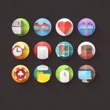 Os ícones lisos para o móbil e as aplicações web ajustaram 1 ilustração do vetor