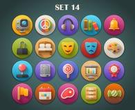 Os ícones lisos redondos com sombra longa ajustaram 14 Fotografia de Stock Royalty Free