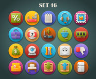 Os ícones lisos redondos com sombra longa ajustaram 16 Imagens de Stock Royalty Free