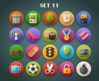 Os ícones lisos redondos com sombra longa ajustaram 11 Foto de Stock Royalty Free