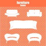 Os ícones luxuosos modernos da mobília dos sofás e dos sofás ajustaram-se para r de vida Imagens de Stock