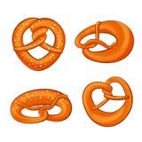 Os ícones os mais oktoberfest ajustados, estilo do pretzel dos desenhos animados ilustração stock