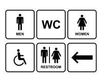 Os ícones masculinos e fêmeas do símbolo do toalete ajustaram-se com homens, mulheres, seta Imagem de Stock