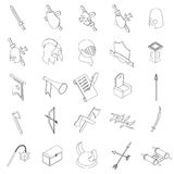 Os ícones medievais dos cavaleiros ajustaram-se, o estilo 3d isométrico Imagem de Stock Royalty Free