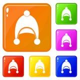 Os ícones mornos do chapéu ajustaram a cor do vetor ilustração royalty free