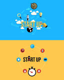Os ícones para começam acima Estilo liso Fotografia de Stock Royalty Free