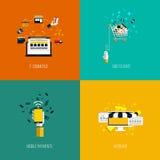 Os ícones para o comércio eletrônico, adicionam ao carro, aos pagamentos móveis e ao webshop Fotos de Stock Royalty Free