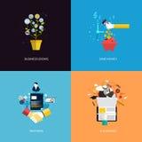 Os ícones para o negócio crescem, salvar o dinheiro, os sócios e o ensino eletrónico Imagens de Stock